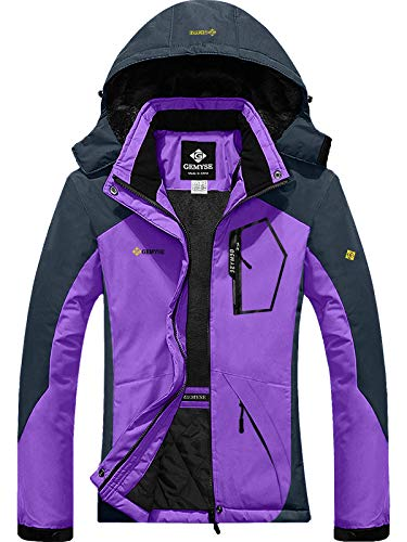 GEMYSE Women's Mountain Waterproof Ski Snow Jacket Winter Windproof Rain Jacket (Purple Grey,L) (Best All Mountain Snow Skis)