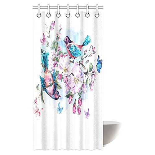 InterestPrint Watercolor Shower Curtain, Vintage Garden Pink Flowers Blooming Branches of Peach, Pear, Apple Trees, Birds and Butterflies Bathroom Set with Hooks, 36 X 72 Inches