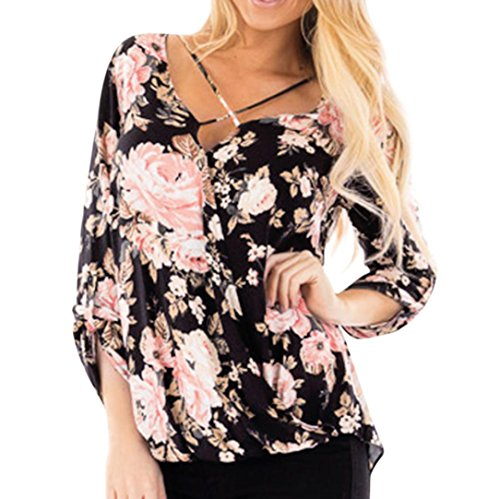 UONQD Woman navy chiffon long top black red bow brown floral high neck women's shirts maroon ruffled blouses grey turquoise ladies flower button ruffle silk(X-Large,Black) -