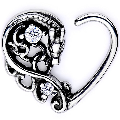 (Body Candy Body Piercing Jewelry Stainless Steel 16G Right Closure Daith Cartilage Dragon Heart Tragus Earring)