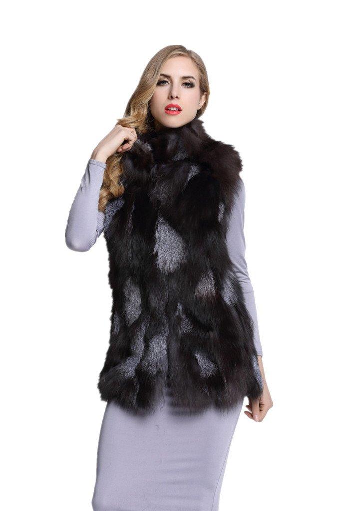 TOPFUR Women's Real Fox Fur Vest Full Pelt Fur Gilet Waistcoat(XL) by Top Fur