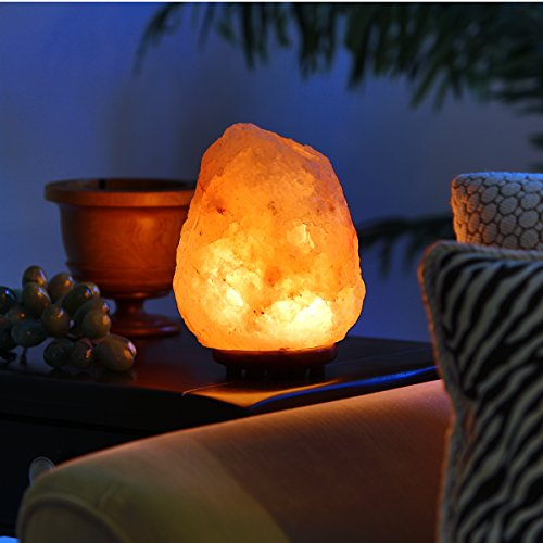 Natural Himalayan Hand Carved Salt Lamp with Indian Rosewood Base, Bulb And Dimmer Control ...