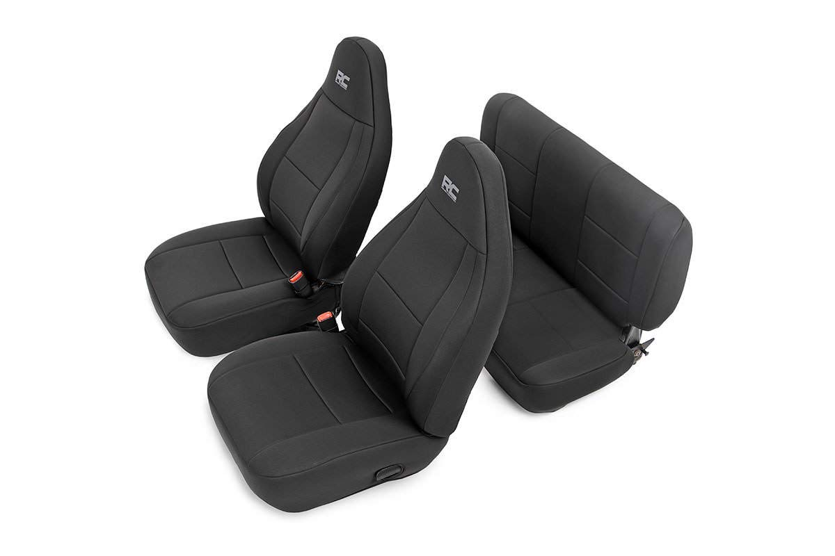 Rough Country 91001 Black Neoprene Seat Cover (Front/Rear) for 03-06 Jeep Wrangler TJ LJ