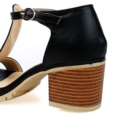 d'orteil Boucle Ouverture Noir Sandales Unie ROFLK006548 Femme Couleur ¨¤ Correct Talon Odomolor xFanHpq