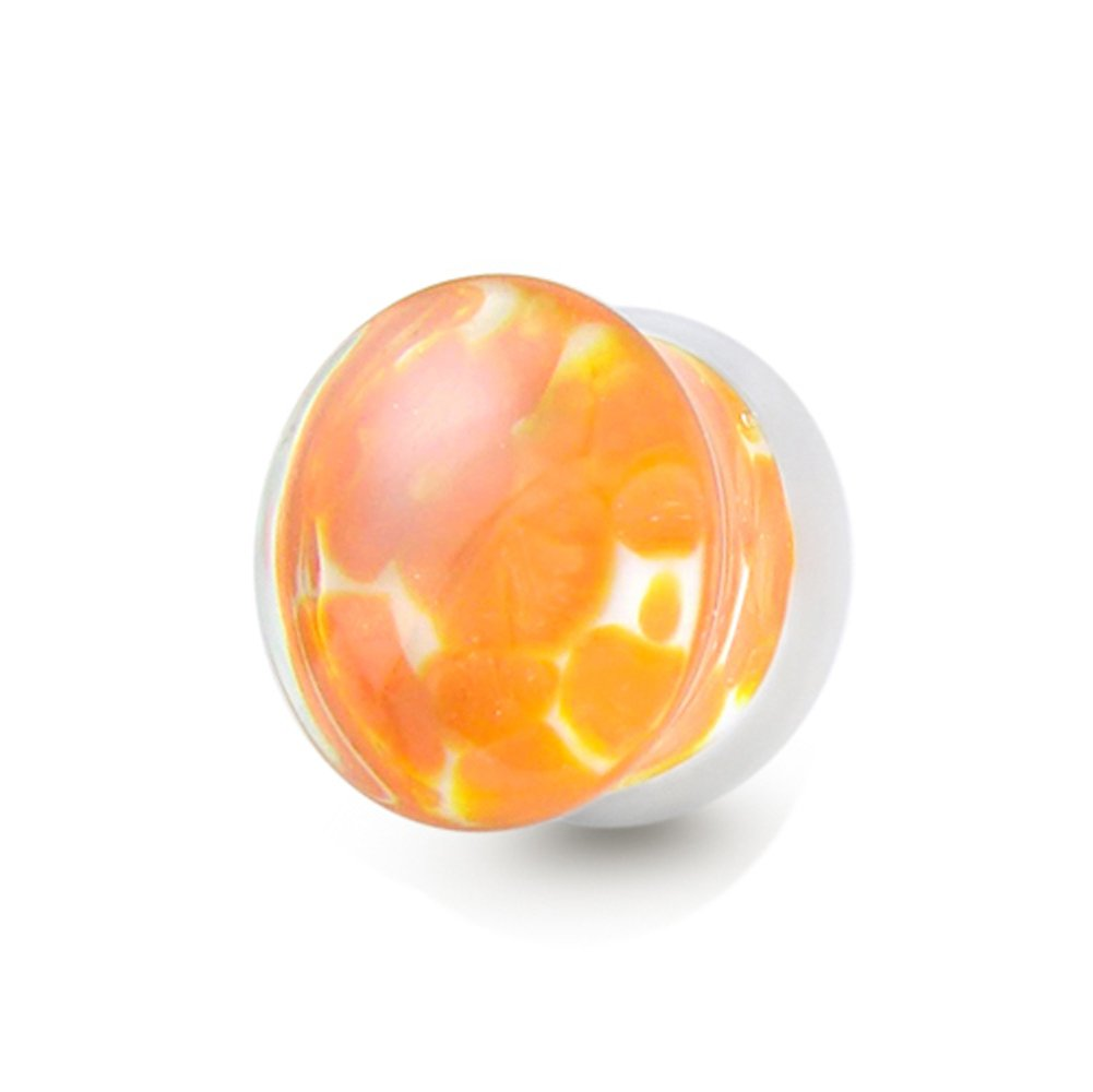 Tunnel-Plug-Taper 14MM Orange Pebble Pyrex Glass Double Flared, Saddle Ear Plug Body jewelry. Price per 1 Piece only.