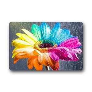Diseño de Creative colorido de flores decoración del hogar Puerta esteras Felpudo Alfombrilla 23,6(L) X 15,7(W) suciedad Buster