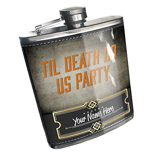 Neonblond Flask Til Death Do Us Party Halloween Spooky Design Custom Name Stainless Steel