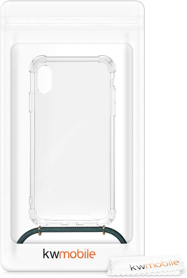 Clear Transparent TPU Cell Phone Cover with Neck Cord Lanyard Strap kwmobile Crossbody Case Compatible with Apple iPhone XR Transparent//Black//White