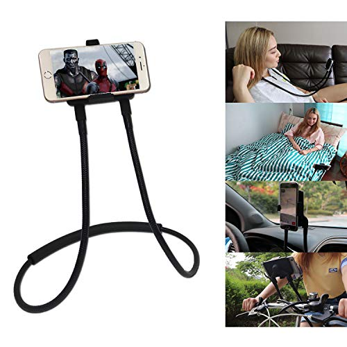 Polifall Cell Phone Holder, Universal Mobile Phone Stand, Flexible Long Lazy Neck Bracket, Adjustable 360° Free Rotating Gooseneck Mount with Multiple Function