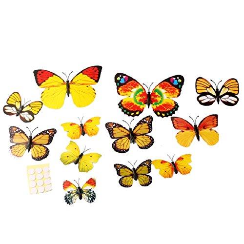 Mokingtop® 3d Wall Stickers Butterfly Fridge Magnet Wedding Decoration Home 12pcs (Yellow)