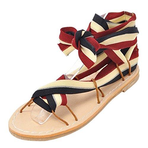 Cruzado Sandalias Black Zapatos Mujer red Coolcept AZ4wqUvOq