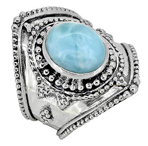 YoTreasure Handcrafted Oval Shaped Natural Larimar Gemstone Sterling Silver Designer Ring Jewelry (Handcrafted Designer Ring)