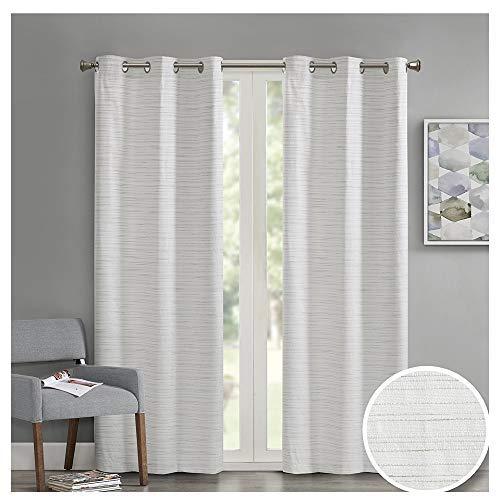 Comfort Spaces - Grasscloth Window Curtain Pair/Set of 2 Panels - White - 40x95 inch Panel - Foamback - Energy Efficient Saving- Grommet Top - 2 Pieces