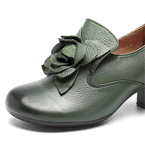 Socofy Leather Oxfords Pumps,Women's Retro Handmade Rose Pattern Slippers Round Head Mid Heel Cute Shoes Green
