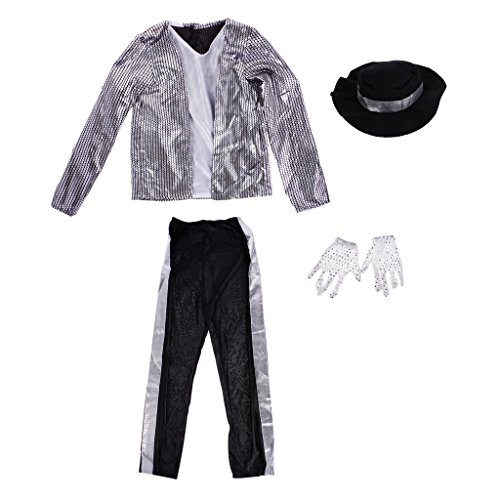 LOVIVER Fashion Cool Boys Kids Michael Jackson Suit Performance Fancy Dress Outfits - M -