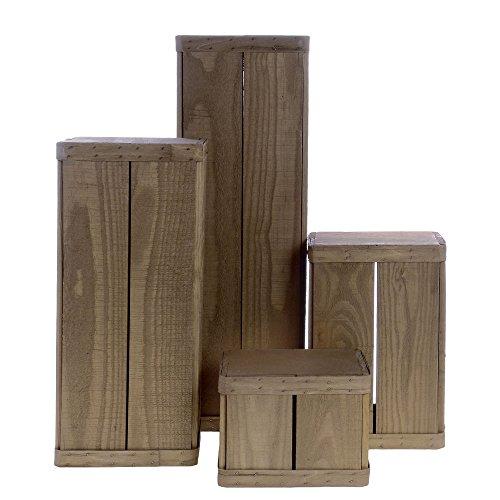 - Retail Resource Rustic Wood Pedestal Set, Weatherwood
