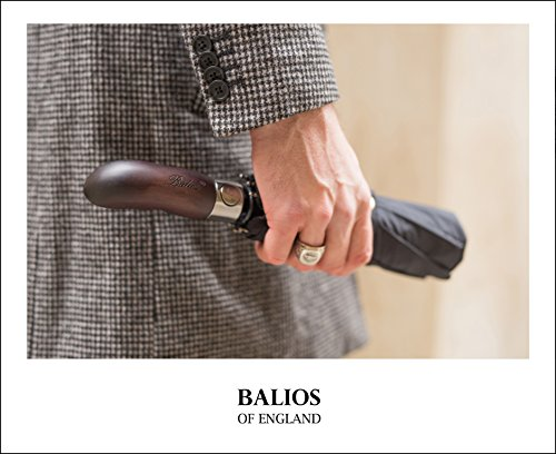 Balios Real Wood Handle Umbrella Windproof Fiberglass Steel Auto Open & Close Travel Folding with 300T Finest Fabric-Vented Double Canopy—Men's & Ladies by Balios (Image #6)