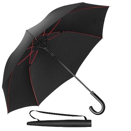 Newdora Stockschirm Regenschirm Windproof Manuelles Schließen Schwarz Fiberglas Rippen Golf Umbrella Lightweight Extra Large
