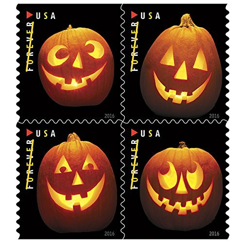 Halloween Postage Stamps (Jack o Lanterns USPS Forever First Class Postage Stamp U.S. Halloween Autumn Sheets ( 20 Pumpkin Stamps) (Book of)