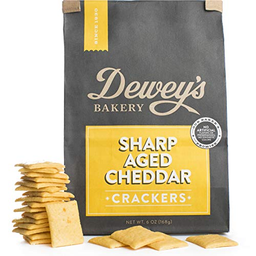 Dewey's Bakery Sharp Aged Cheddar Crackers   Baked in Small Batches   Simple, Clean Ingredients   Southern Inspired Recipe   6 oz (Pack of ()