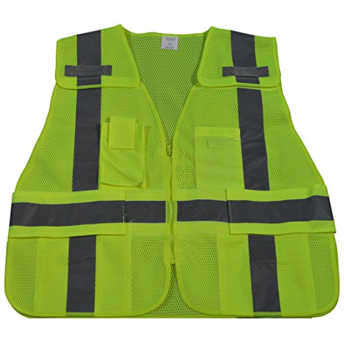 Public Safety Apparel - Petra Roc LVM2-LPSV-REG ANSI-107 Class 2 Public Safety Vest, Small/X-Large, Lime Mesh