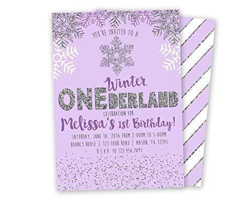 Glitter Purple Winter ONEderland Invitations for Girl 1st First Birthday ()
