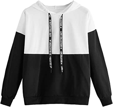 Hoodies for Girls Fashion Women Skew Neck Long Sleeve Striped Patchwork Button Sweatshirt Top