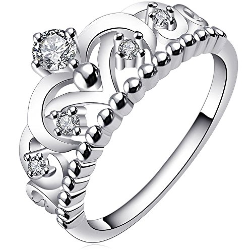BOHG Jewelry Womens 925 Sterling Silver Plated Cubic Zirconia CZ Princess Crown Tiara Ring Wedding Band Size - Rings