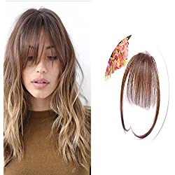 Sunny 100% Human Hair Light Brown Front Fringe with Hair Temples Clip in Hair Extensions One Piece Striaght Fringe Hairpiece Accessories