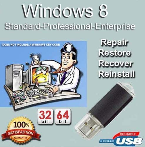Windows 8 All Versions Standard, Professional, Enterprise 32- 64-Bit Install | Boot | Recovery | Restore USB Flash Drive