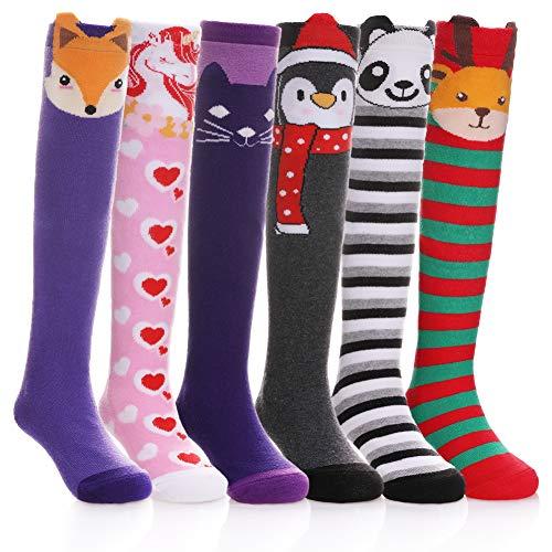 NOVCO Girls Knee High Socks Cartoon Animal Patterns Cotton Over Calf Socks (6 Pairs Cartoon Animal)