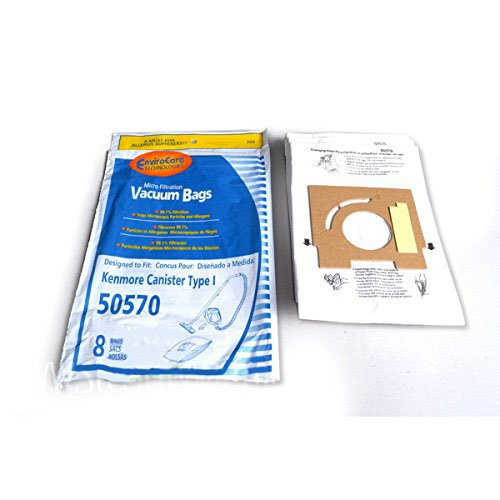 Kenmore 50570 Canister Type I Envirocare Microfiltaration Vac-clean 8 Bags 202