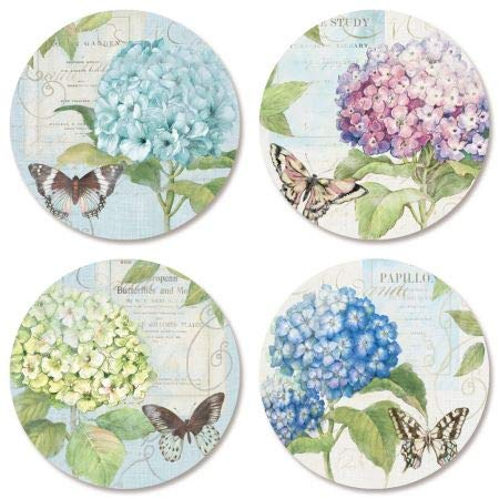 (Hydrangea Stickers- Set of 144 Round Evelope Seals )