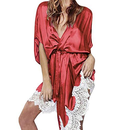 (Women Sexy V Neck Pajamas Lingerie Silk Lace Robe Dress Babydoll Nightdress Nightgown Sleepwear Plus Size Bathrobe Robe (L, Red))