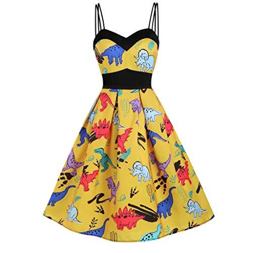 CCatyam Plus Size Dresses for Women, Sleeveless Print Cami Sexy High Waist Swing Party Fashion Yellow