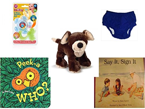 Children's Gift Bundle - Ages 0-2 [5 Piece] - Nuby 3 Step Soothing Teether Set, BPA Free - Circo Infant Reusable Swim Diaper Royal Blue Size L 24 Months 22-25 lbs - Webkinz HM348 Mocha Pup Plush Ani by Secure-Order-Marketplace Gift Bundles