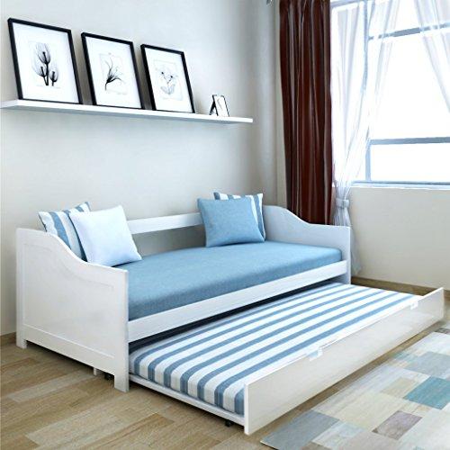 Festnight - Canapé-lit double en bois, 200 x 90 cm, blanc