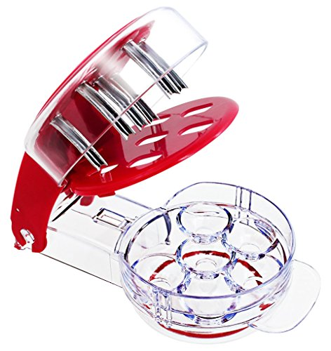 (IHUIXINHE Cherry Pitter and Olive Tool, 6 Cherries at Once, Professional Stone Remover with Pit and Juice Container)