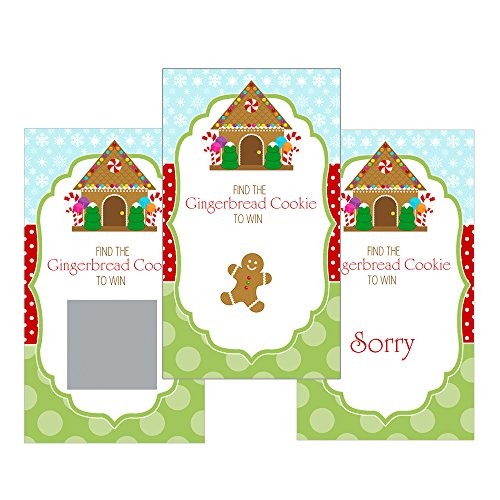 Invitations Gingerbread House Party (Set of 12 Scratch Off Game Cards for Baby Shower Games with Christmas Gingerbread House and Cookie SCX010)
