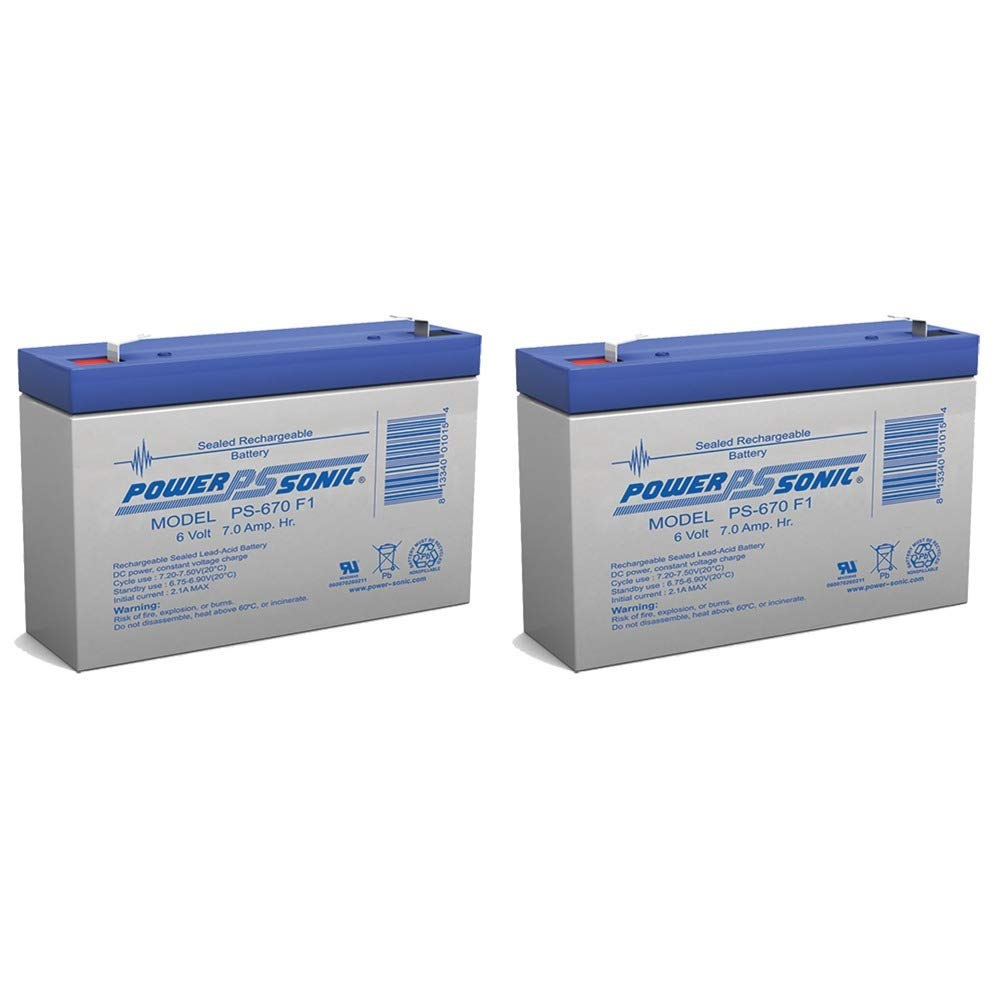 SECURITY BRAND OR SIMILAR REPLACEMENT FOR PS-670 - 6V 7Amp SLA Battery - 2 Pack Power-Sonic