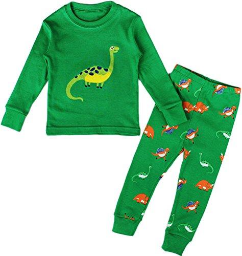 y Dino 2 Pcs Pajamas Set Sleepwear Snug Fit (3Y-4Years),Green ()