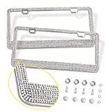 #3: Bling License Plate Frames 2 PACK - Luxury Pure Handcrafted Bling Rhinestone Premium Stainless Steel License Plate Frame for Cars with Anti-Theft Screws Caps Set