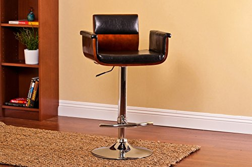 36' Wide Pedestal - HomeRoots Furniture Modern Padded Wood Back Adjustable Swivel Bar with Armrests and Cushion
