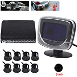 SallyBest® Omnibearing Vehicle Parking Assiistance System Digital LCD Display Car Reverse Front Rear View Radar System Kit Sound Alert for Car Safety with 8 Front Rear Parking Sensors (Black)