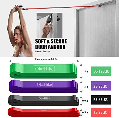 OlarHike Resistance Pull Up Bands Set, Exercise Workout Bands for Women & Men with 2 Foam Handles, Band Guard, Door Anchor, for Working Out, Fitness 5