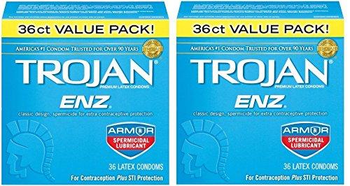 Trojan Enz Condom RZVkae Enz Spermicidal, 36 Count (Pack of 2) by Trojan