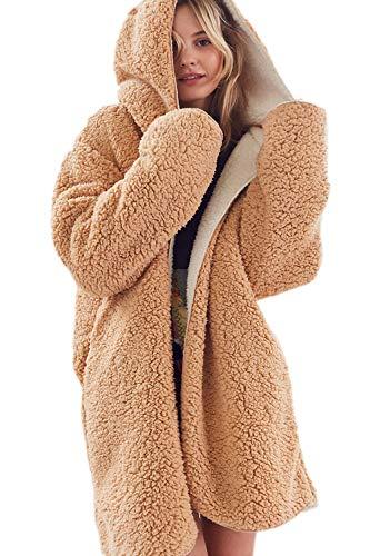Femmes Capuche À Fuzzy De D'hiver Chaud Yacun Outwear Vestes Kaki Polaire Manteau twx541Zn