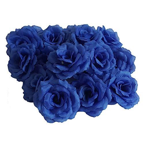 Eternal Blossom Silk Rose Flower Head, 20PCS for Hat Clothes Album Decoration, Wedding Decoration (Dark Blue)
