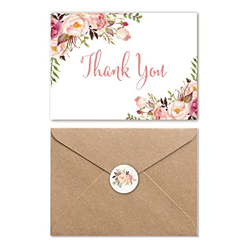 Pink Floral Thank You Cards with Envelopes, 4 x 6 Boho Flower Thank You Notes - Chic Greeting Cards 25 Bulk Pack, Blank Inside, Meet Wedding, Bridal Shower, Girl Baby Shower More Occasion - Girl Envelope Seals