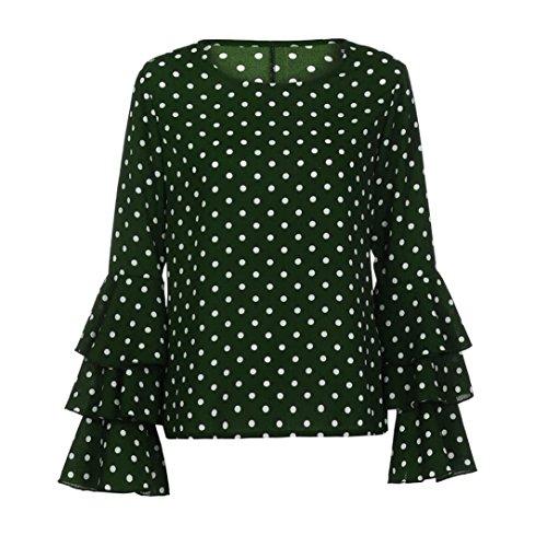 Femme Corne Femme Tops Tunique Blouse de Par Manches Chemise Mode Chic Fille Longue Vert Points Ete HUI Longues Lache Casual Ados Blouse Top Impression Manche Manche Soiree HUI Haut Aqw5WazB8